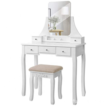 Vanity Table Set Large Frameless Mirror Makeup Dressing Table Set